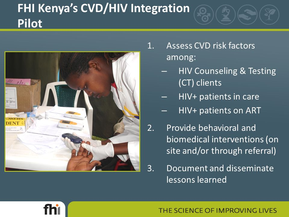 FHI Kenya's CVD/HIV Integration Pilot 1.Assess CVD risk factors among: – HIV Counseling & Testing (CT) clients – HIV+ patients in care – HIV+ patients on ART 2.Provide behavioral and biomedical interventions (on site and/or through referral) 3.Document and disseminate lessons learned