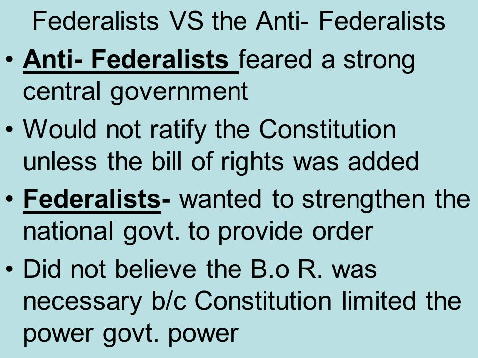 the mistakes of the anti federalists on the constitution