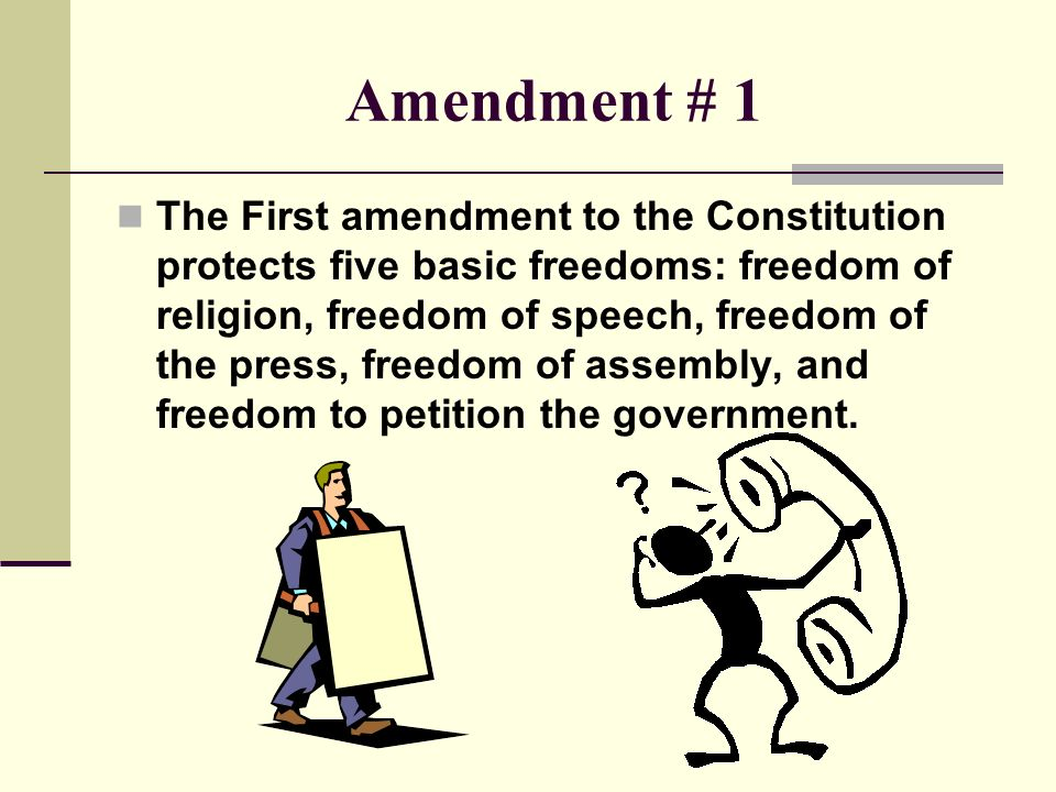 the first amendment The first amendment the first amendment to the us constitution is part of our countries bill of rights the first amendment is perhaps the most important part of the us constitution because the amendment guarantees citizens freedom of religion, speech, writing and publishing, peaceful assembly, and the freedom to raise grievances with the.