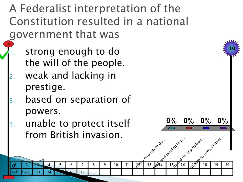 A Federalist interpretation of the Constitution resulted in a national government that was 1.