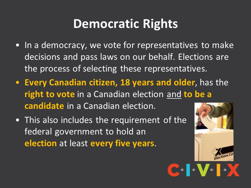 Democratic Rights In a democracy, we vote for representatives to make decisions and pass laws on our behalf. Elections are the process of selecting th