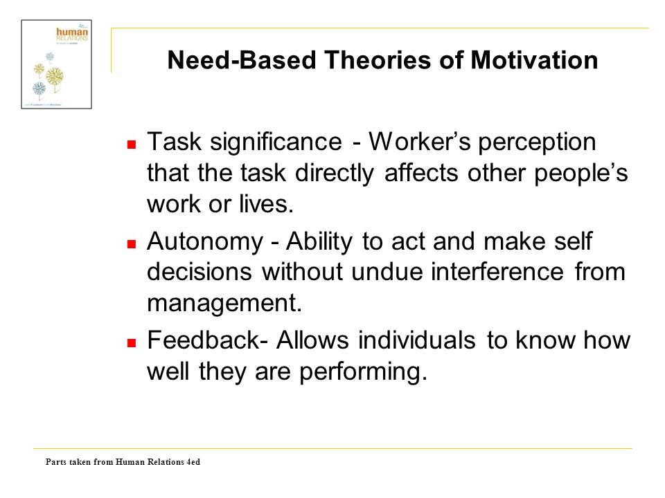 Parts taken from Human Relations 4ed Task significance - Worker's perception that the task directly affects other people's work or lives.