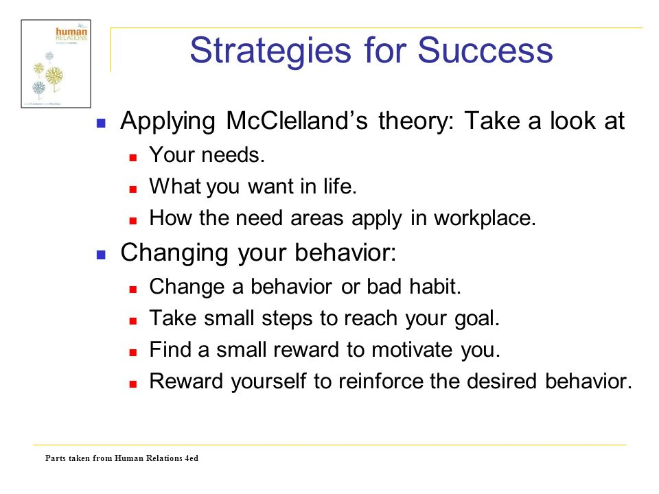 Parts taken from Human Relations 4ed Strategies for Success Applying McClelland's theory: Take a look at Your needs.
