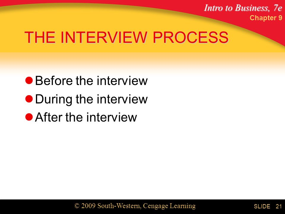 Intro to Business, 7e © 2009 South-Western, Cengage Learning SLIDE Chapter 9 21 THE INTERVIEW PROCESS Before the interview During the interview After the interview