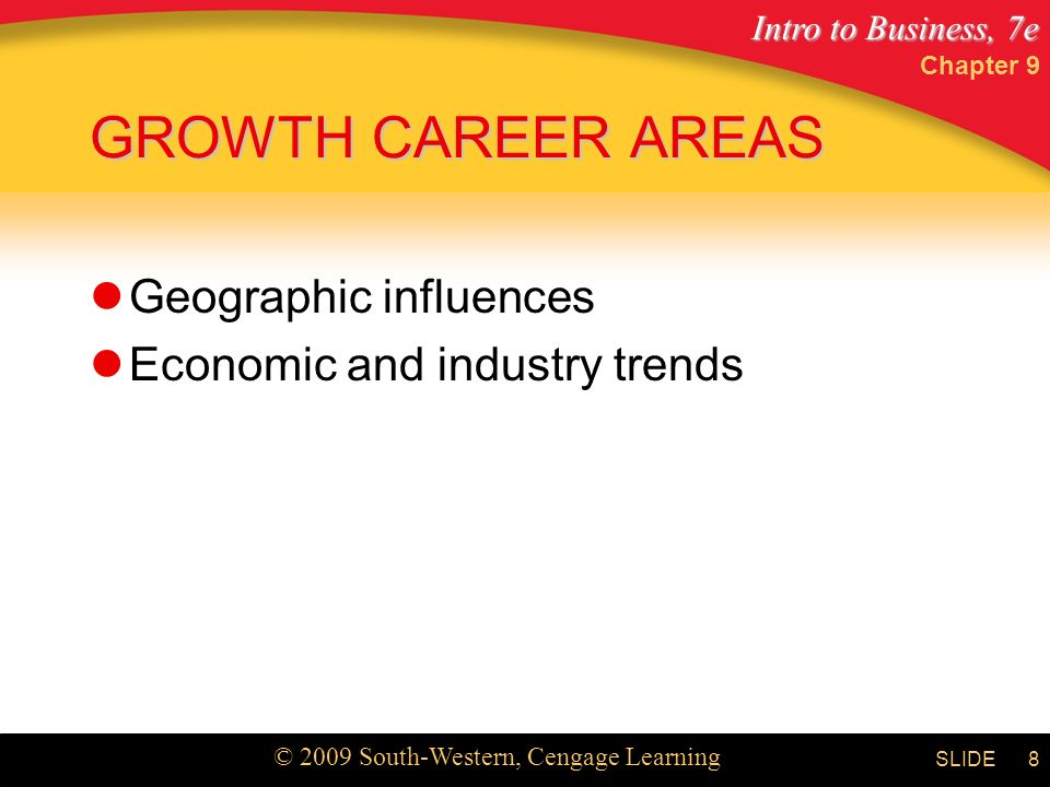 Intro to Business, 7e © 2009 South-Western, Cengage Learning SLIDE Chapter 9 8 GROWTH CAREER AREAS Geographic influences Economic and industry trends