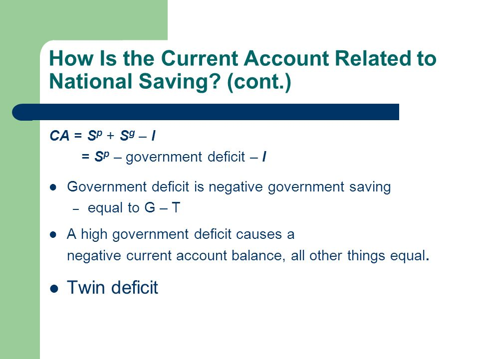 How Is the Current Account Related to National Saving.