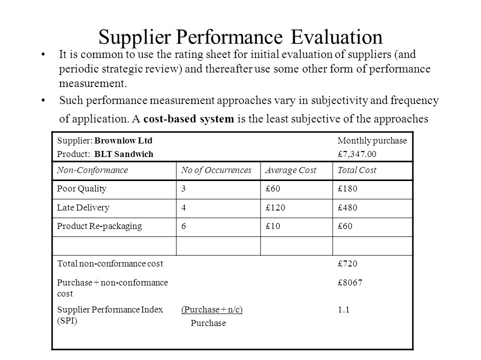Supply Chain Partnerships Dr S Najafi Tavana Managing the supply – Supplier Evaluation Form