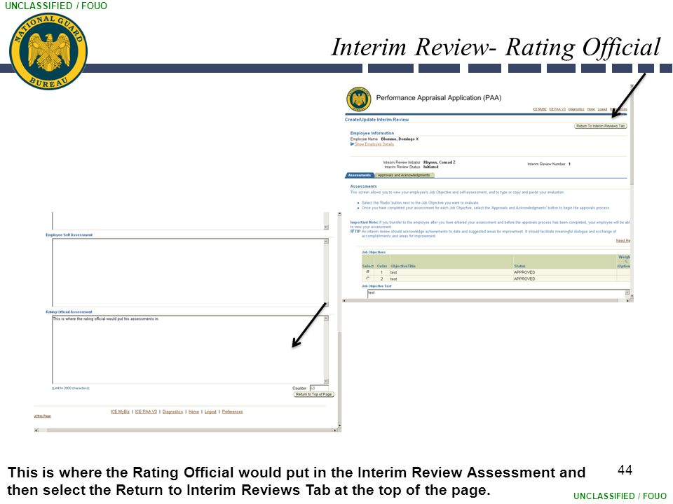 UNCLASSIFIED / FOUO Interim Review- Rating Official 44 This is where the Rating Official would put in the Interim Review Assessment and then select the Return to Interim Reviews Tab at the top of the page.