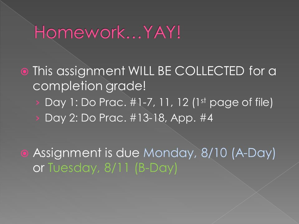  This assignment WILL BE COLLECTED for a completion grade.
