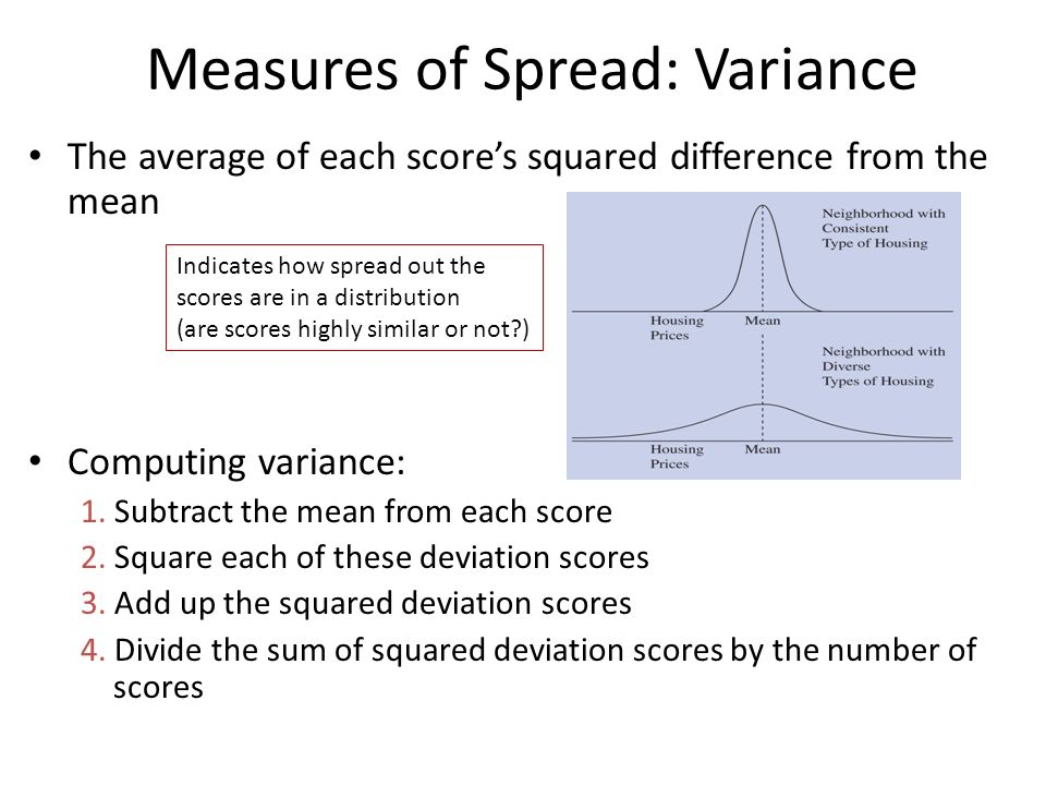 Measures of Spread: Variance The average of each score's squared difference from the mean Computing variance: 1.