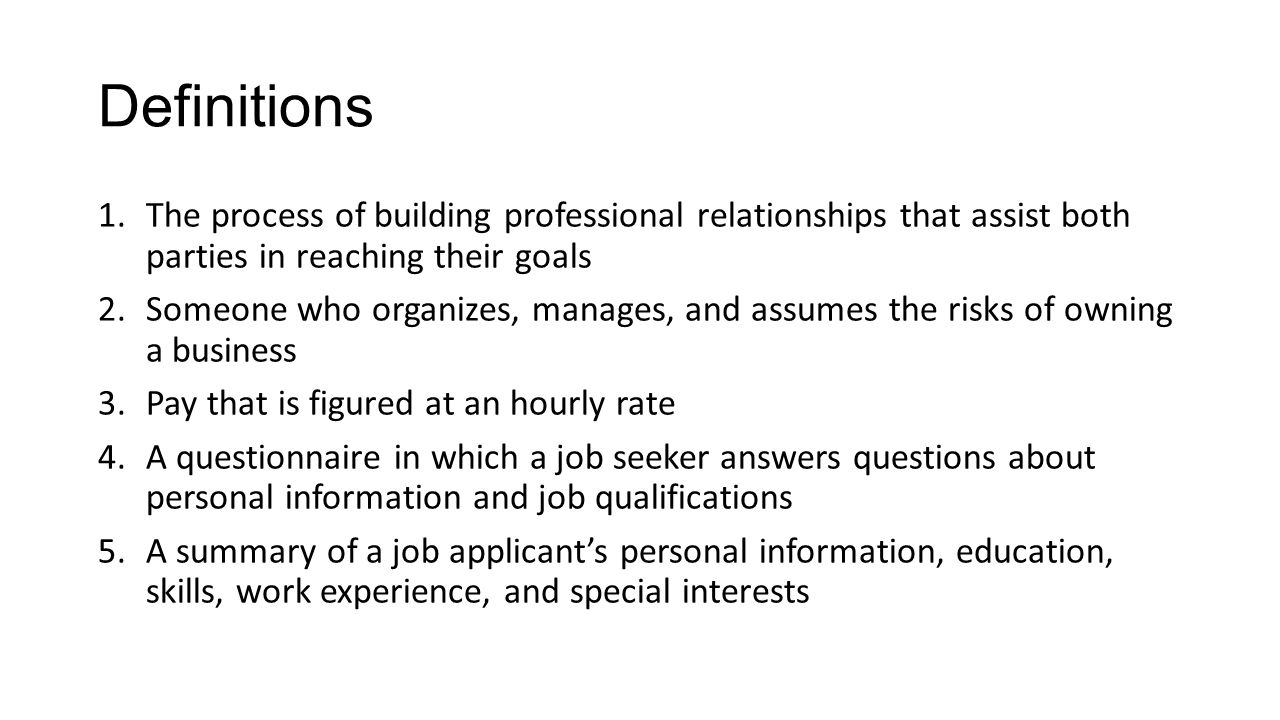 focus questions 1 in what setting do employers usually make hiring 8 definitions 1