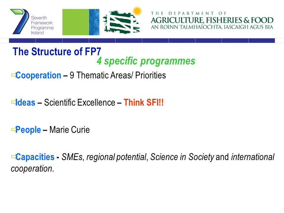 The Structure of FP7 4 specific programmes  Cooperation – 9 Thematic Areas/ Priorities  Ideas – Scientific Excellence – Think SFI!.