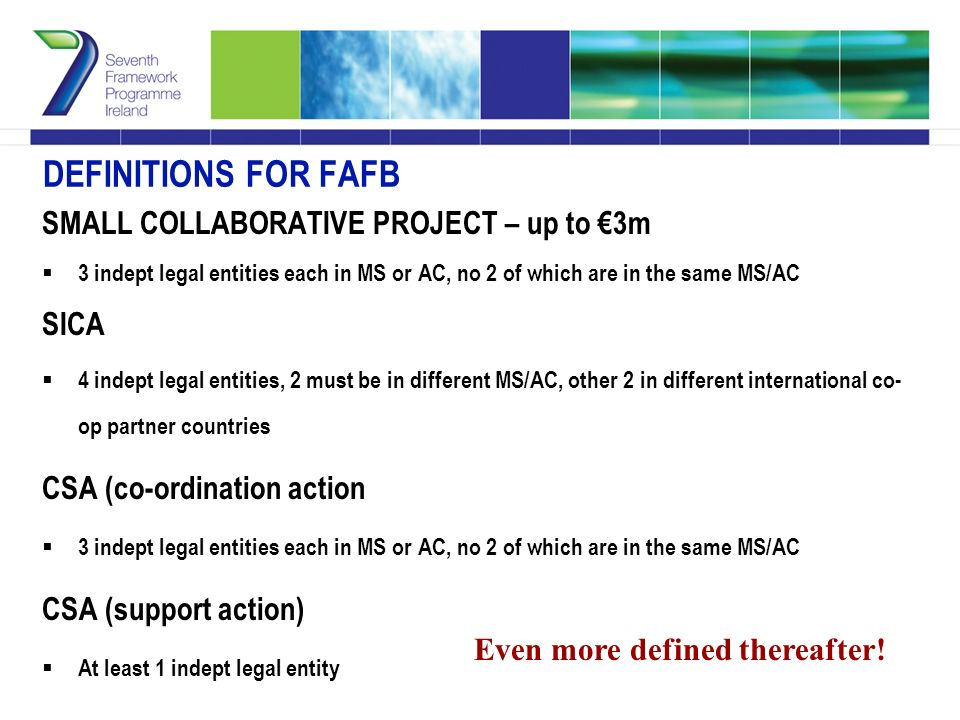 DEFINITIONS FOR FAFB SMALL COLLABORATIVE PROJECT – up to €3m  3 indept legal entities each in MS or AC, no 2 of which are in the same MS/AC SICA  4 indept legal entities, 2 must be in different MS/AC, other 2 in different international co- op partner countries CSA (co-ordination action  3 indept legal entities each in MS or AC, no 2 of which are in the same MS/AC CSA (support action)  At least 1 indept legal entity Even more defined thereafter!