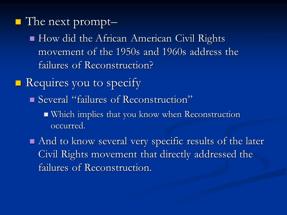 do you think reconstruction is good essay At the conclusion of the civil war there were two completely the conclusion of the civil war history essay congress than voted in the reconstruction.