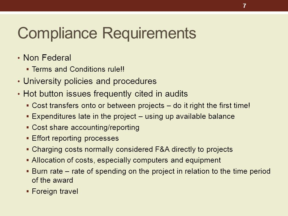Compliance Requirements Non Federal  Terms and Conditions rule!.