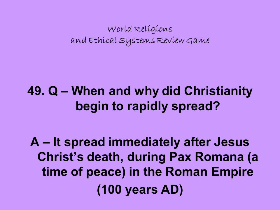 World Religions and Ethical Systems Review Game 49.