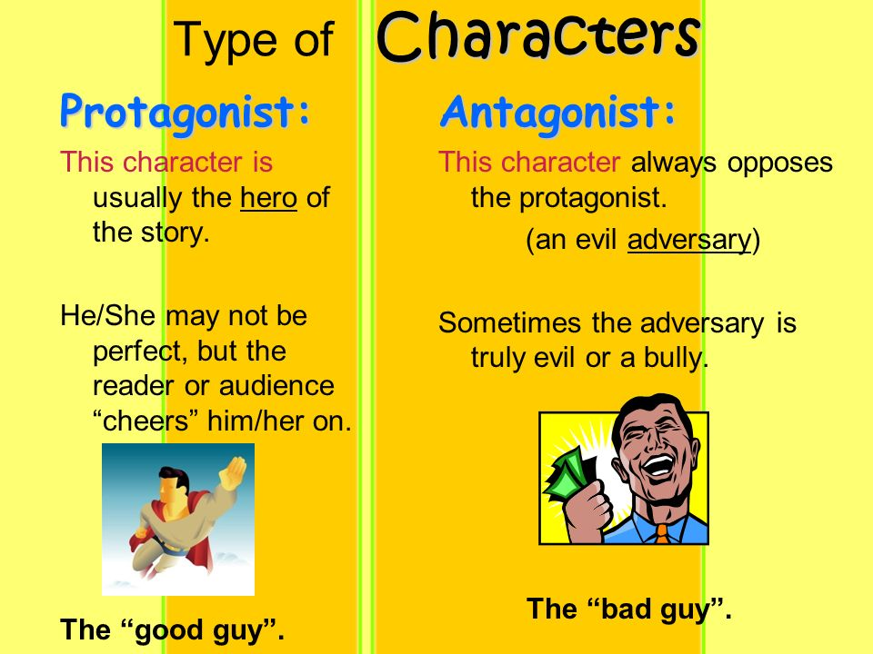 Characters Type of CharactersAntagonist: This character always opposes the protagonist.