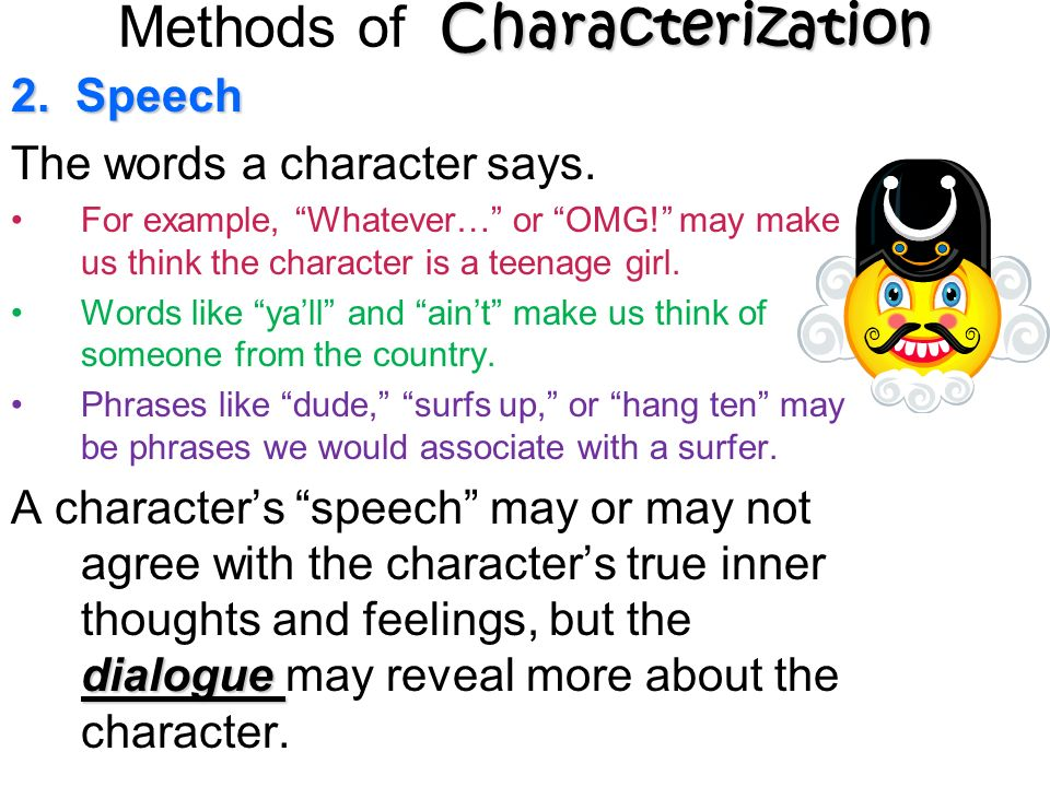 2. Speech The words a character says.