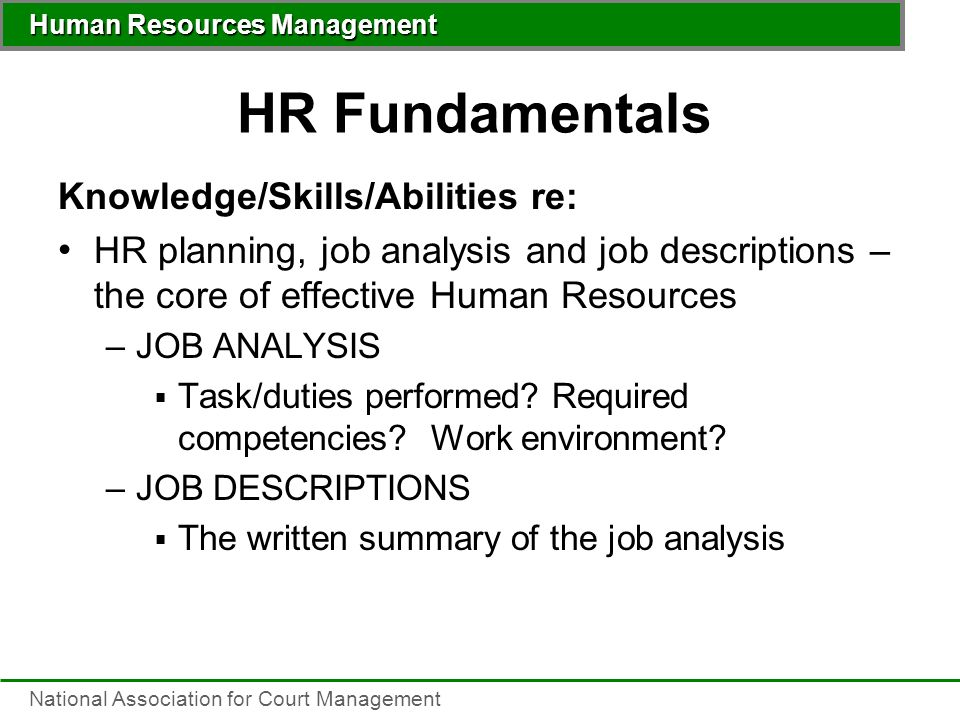 Human Resources Management National Association For Court