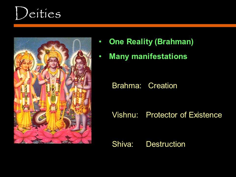Deities One Reality (Brahman) Many manifestations Brahma: Creation Vishnu: Protector of Existence Shiva:Destruction