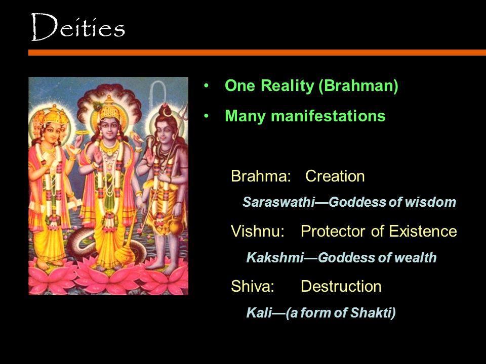 Deities One Reality (Brahman) Many manifestations Brahma: Creation Saraswathi—Goddess of wisdom Vishnu: Protector of Existence Kakshmi—Goddess of wealth Shiva:Destruction Kali—(a form of Shakti)
