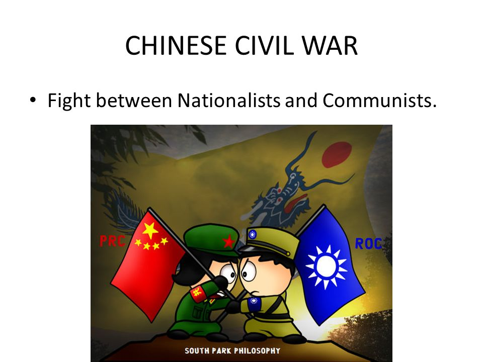 CHINESE CIVIL WAR Fight between Nationalists and Communists.