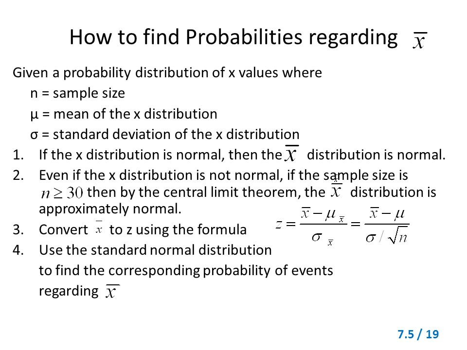 Section 75 the central limit theorem 75 1 theorem 71 for a 19 how to find probabilities regarding given a probability distribution ccuart Images