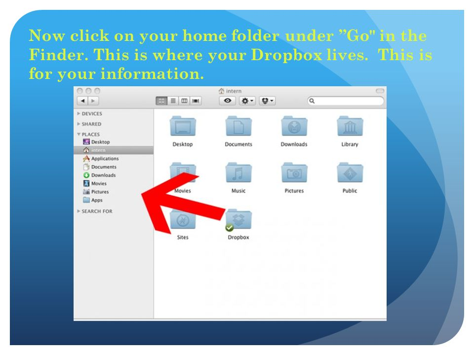Now click on your home folder under Go in the Finder.