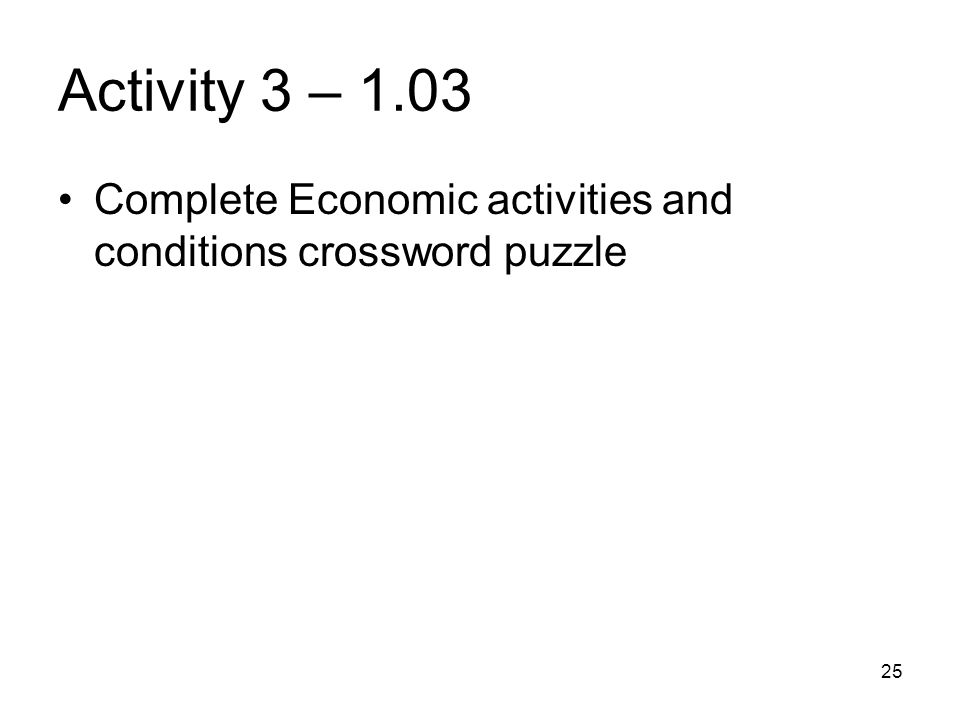 Activity 3 – 1.03 Complete Economic activities and conditions crossword puzzle 25