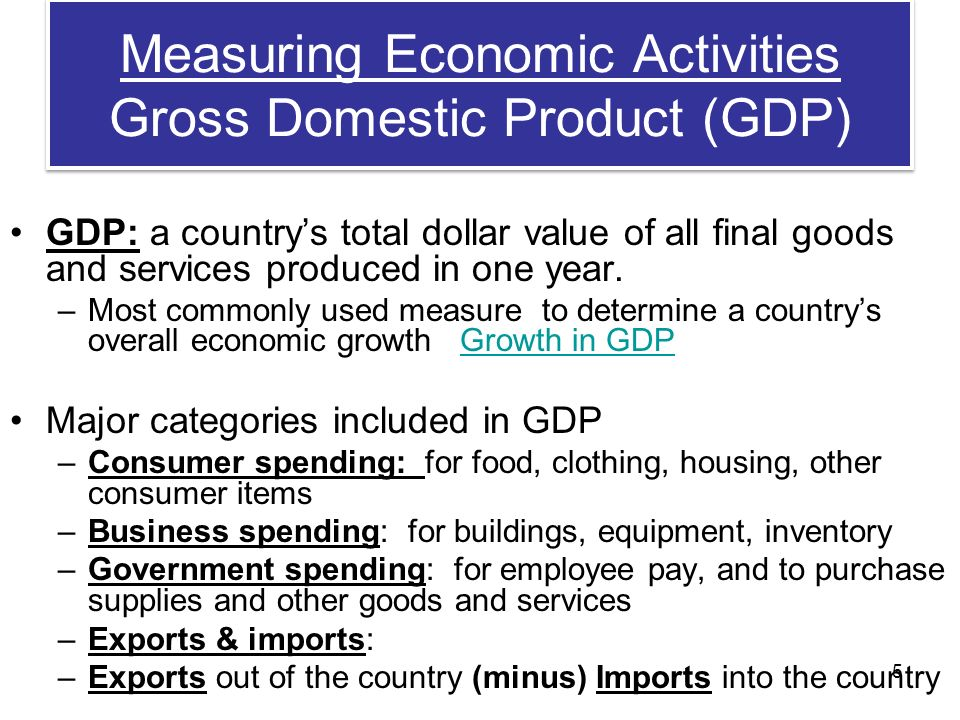 Measuring Economic Activities Gross Domestic Product (GDP) GDP: a country's total dollar value of all final goods and services produced in one year.