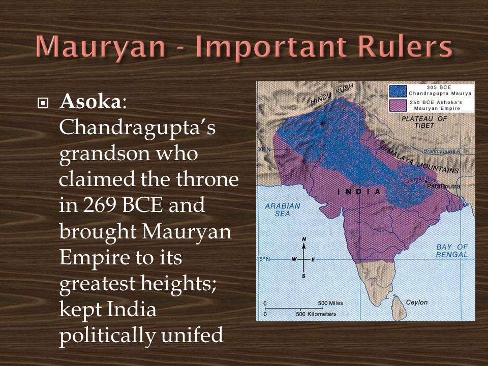  Asoka : Chandragupta's grandson who claimed the throne in 269 BCE and brought Mauryan Empire to its greatest heights; kept India politically unifed