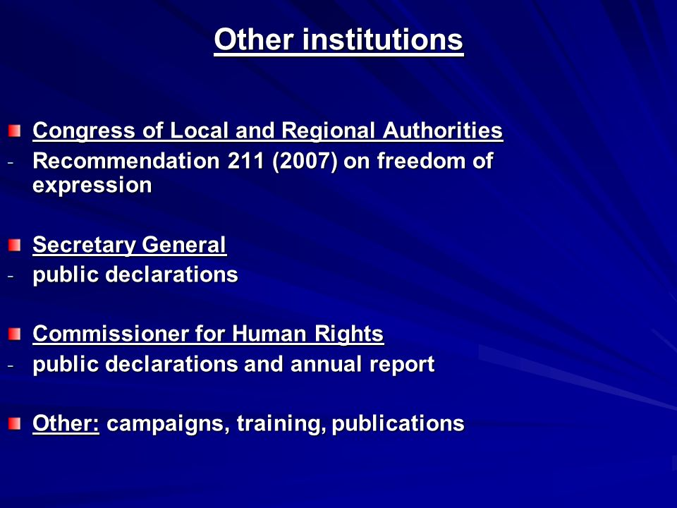 Congress of Local and Regional Authorities - Recommendation 211 (2007) on freedom of expression Secretary General - public declarations Commissioner for Human Rights - public declarations and annual report Other: campaigns, training, publications Other institutions