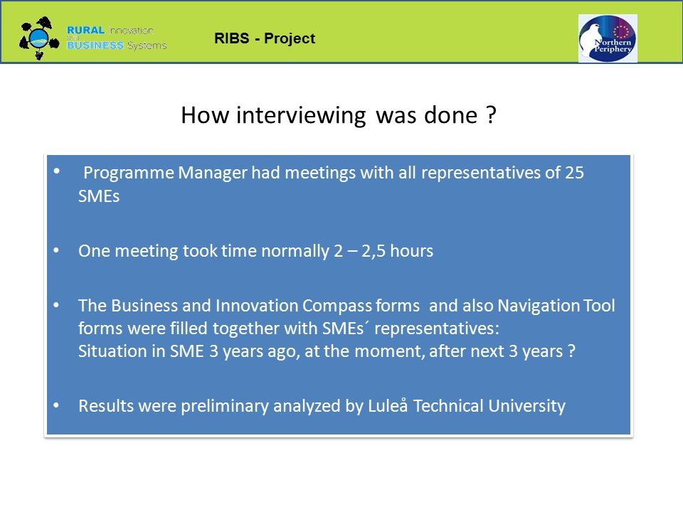 RIBS - Project How interviewing was done .
