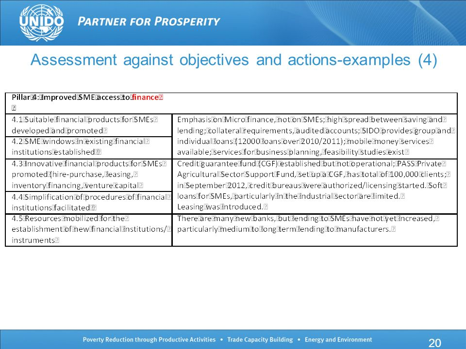 20 Assessment against objectives and actions-examples (4)