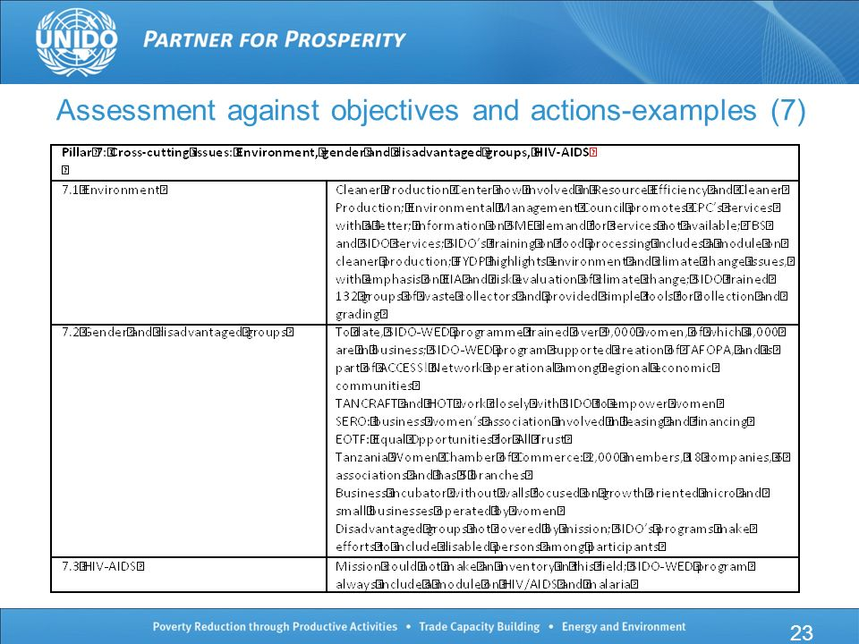 23 Assessment against objectives and actions-examples (7)