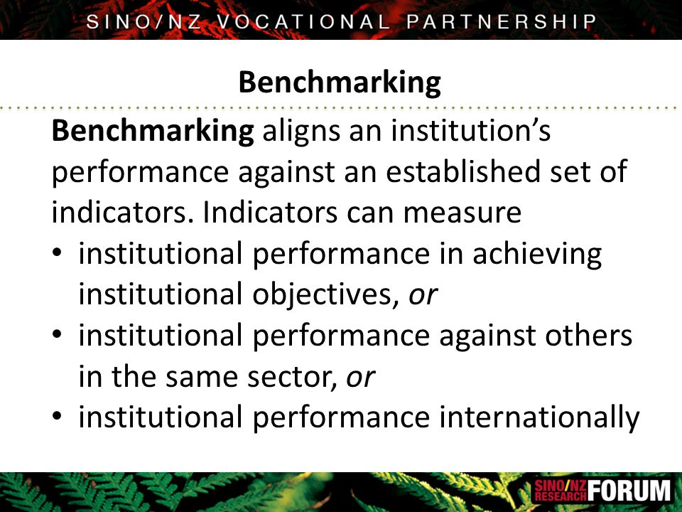 Benchmarking aligns an institution's performance against an established set of indicators.