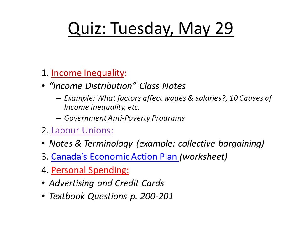 Quiz Tuesday May Income Inequality Income Distribution Class