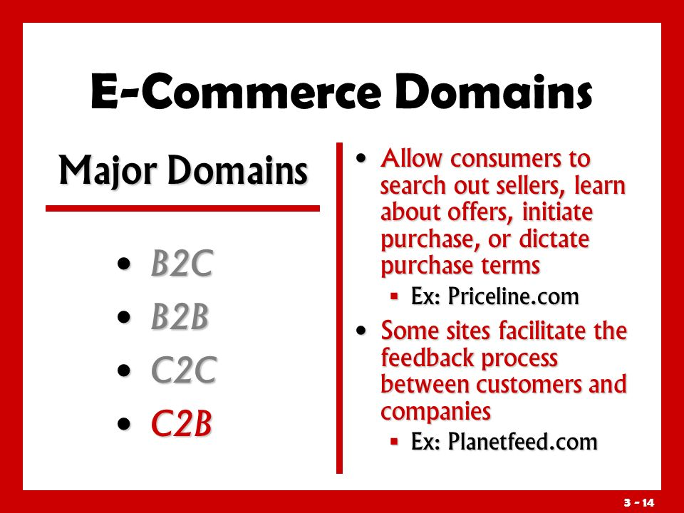 3 - 14 E-Commerce Domains B2C B2C B2B B2B C2C C2C C2B C2B Allow consumers to search out sellers, learn about offers, initiate purchase, or dictate purchase terms  Ex: Priceline.com Some sites facilitate the feedback process between customers and companies  Ex: Planetfeed.com Major Domains