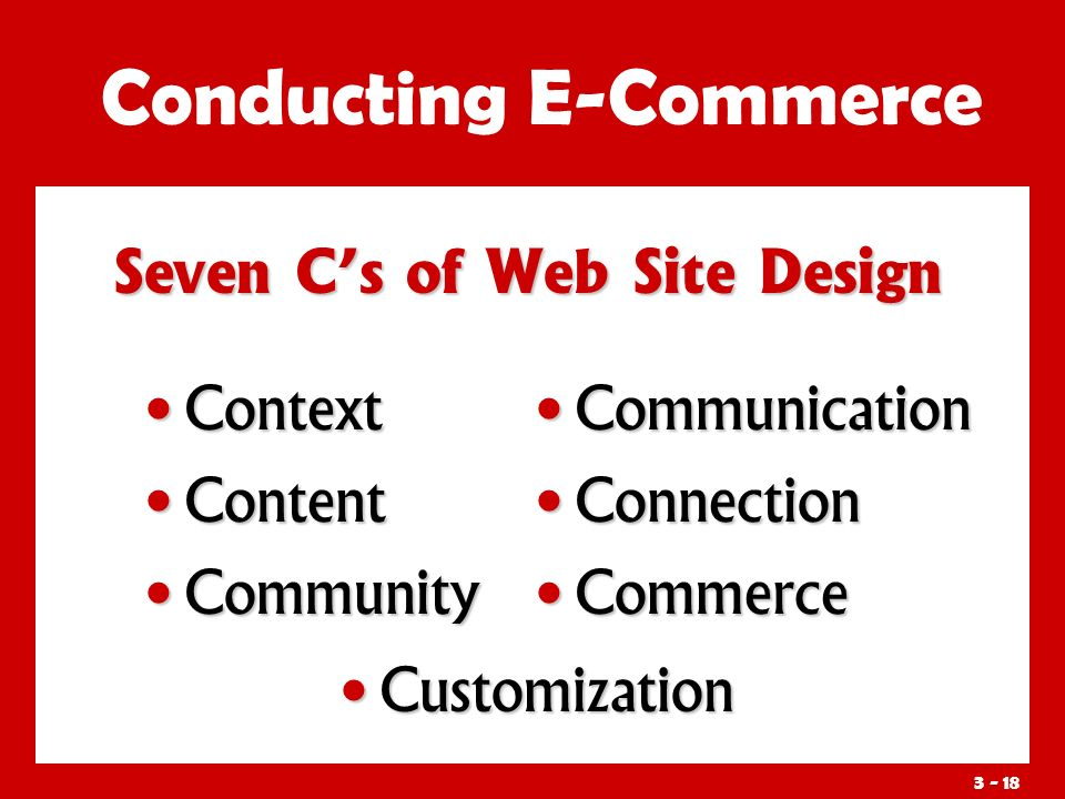 3 - 18 Seven C's of Web Site Design Conducting E-Commerce Context Context Content Content Community Community Communication Connection Commerce Customization Customization