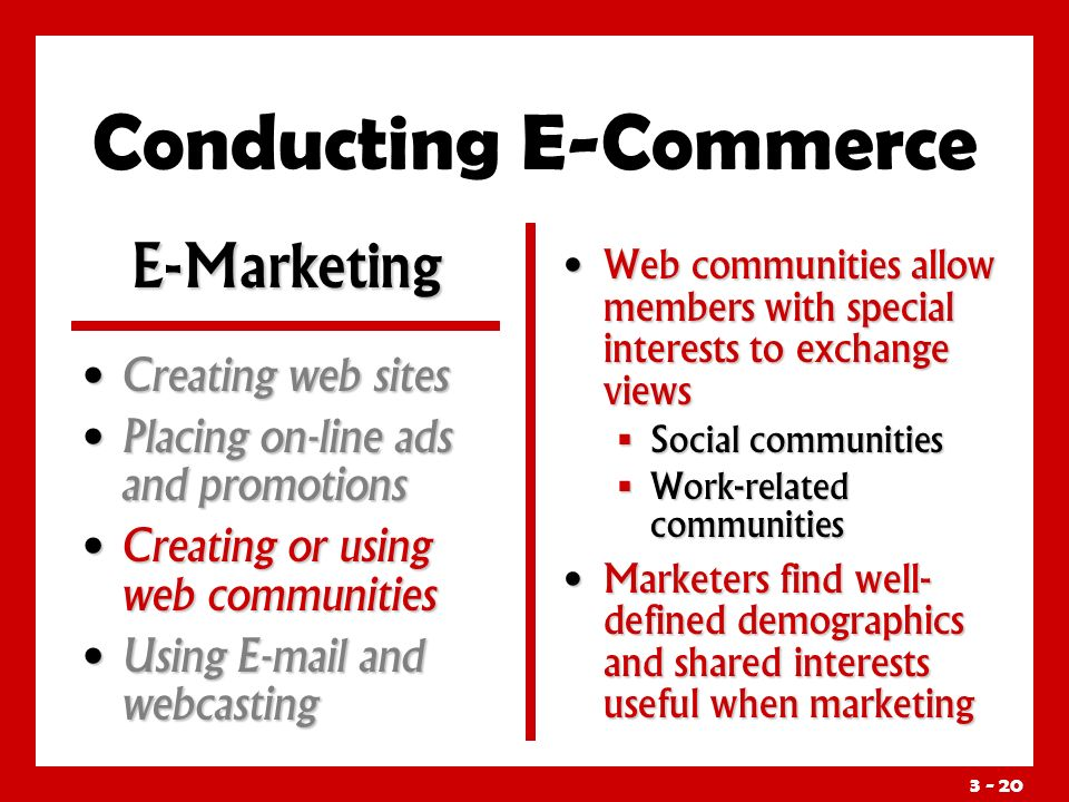 3 - 20 Conducting E-Commerce Web communities allow members with special interests to exchange views  Social communities  Work-related communities Marketers find well- defined demographics and shared interests useful when marketing E-Marketing Creating web sites Creating web sites Placing on-line ads and promotions Placing on-line ads and promotions Creating or using web communities Creating or using web communities Using E-mail and webcasting Using E-mail and webcasting