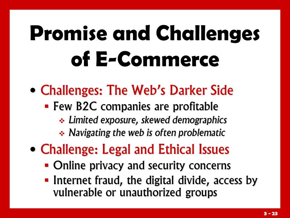 3 - 23 Promise and Challenges of E-Commerce Challenges: The Web's Darker Side Challenges: The Web's Darker Side  Few B2C companies are profitable  Limited exposure, skewed demographics  Navigating the web is often problematic Challenge: Legal and Ethical Issues Challenge: Legal and Ethical Issues  Online privacy and security concerns  Internet fraud, the digital divide, access by vulnerable or unauthorized groups