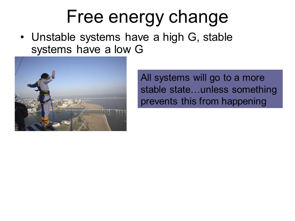 Free energy change Unstable systems have a high G, stable systems have a low G All systems will go to a more stable state…unless something prevents this from happening