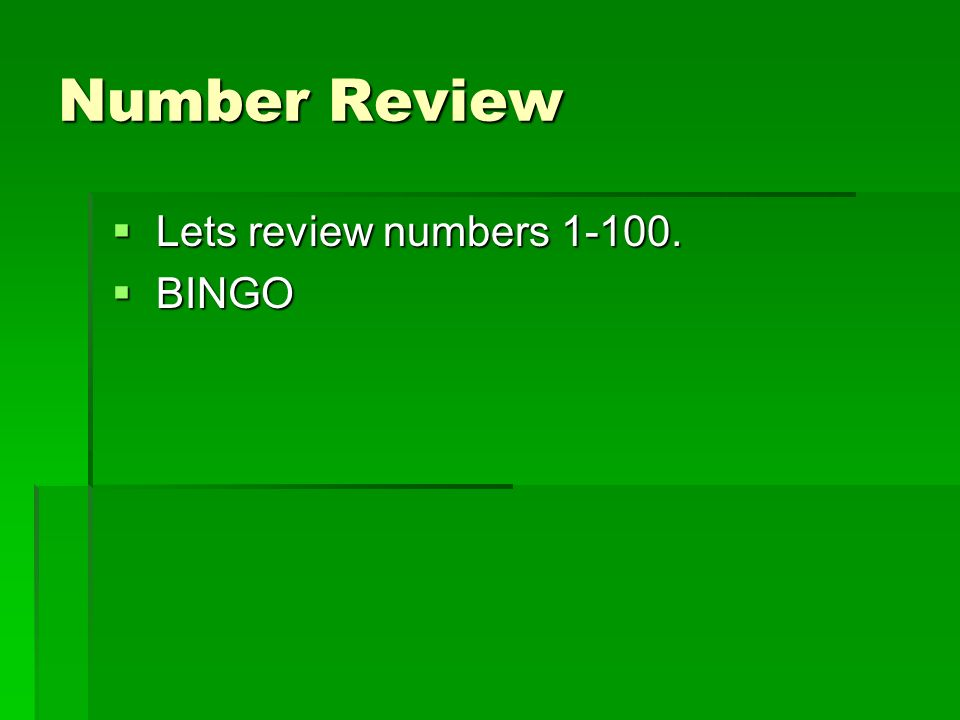 Number Review  Lets review numbers  BINGO