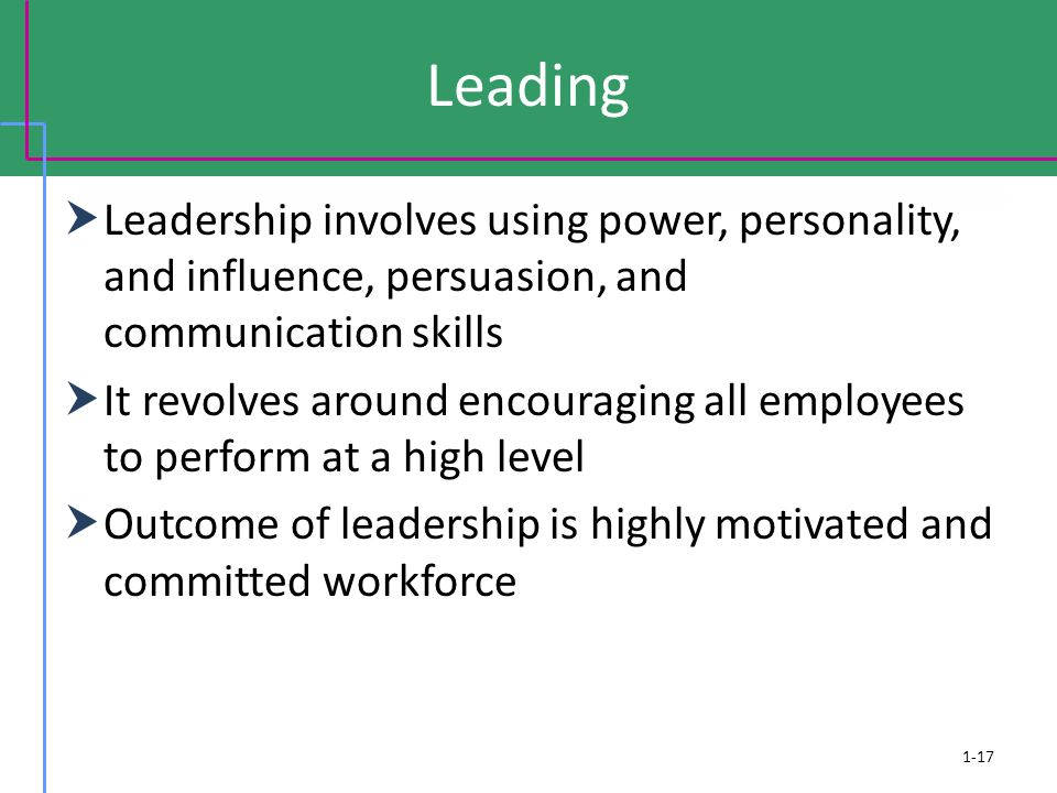 Leading  Leadership involves using power, personality, and influence, persuasion, and communication skills  It revolves around encouraging all emplo