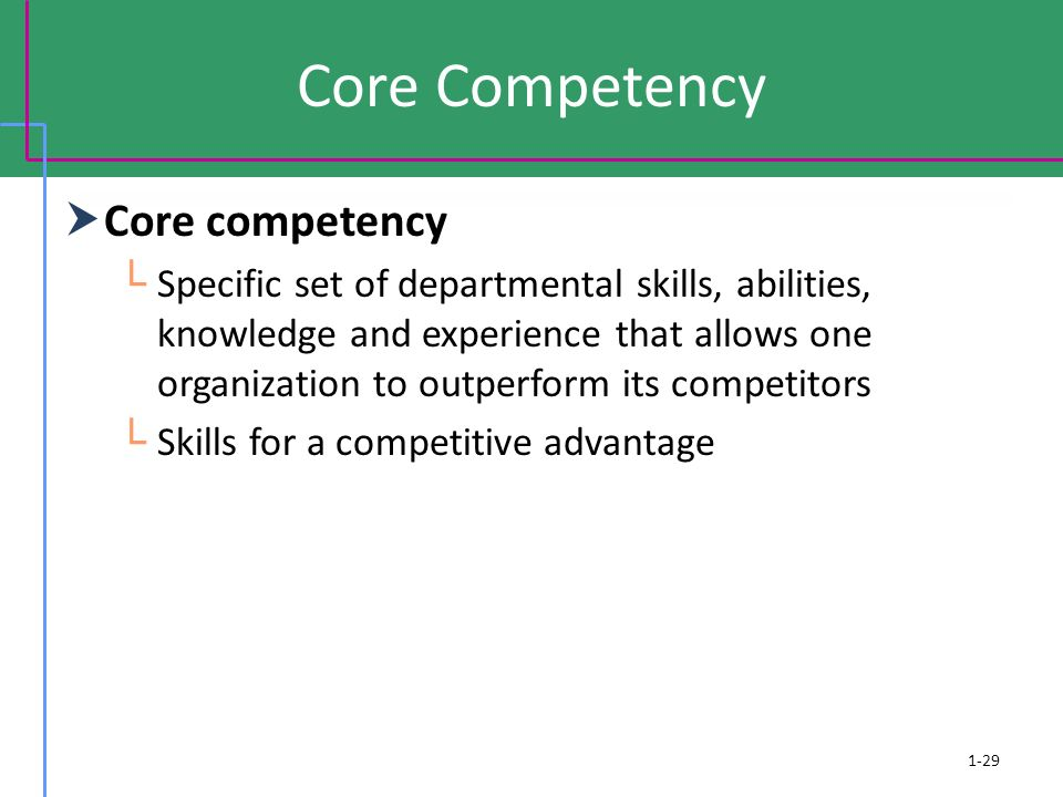Core Competency  Core competency └ Specific set of departmental skills, abilities, knowledge and experience that allows one organization to outperfor