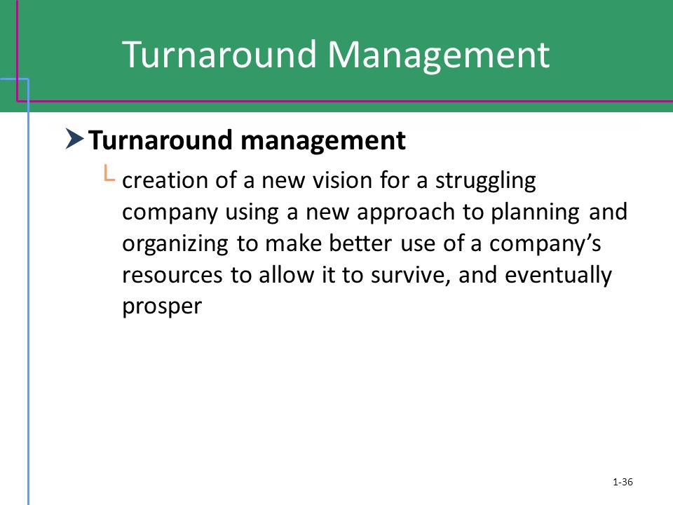 1-36 Turnaround Management  Turnaround management └ creation of a new vision for a struggling company using a new approach to planning and organizing
