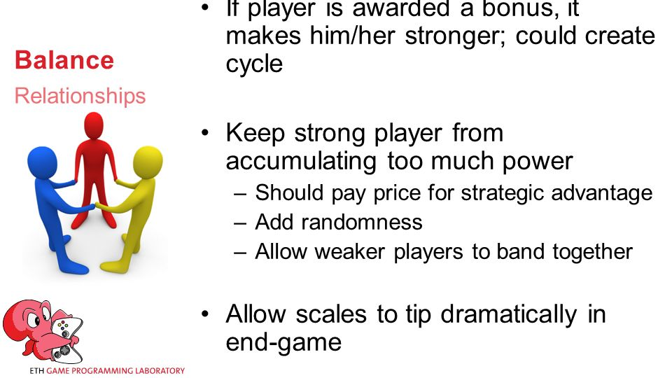 Balance If player is awarded a bonus, it makes him/her stronger; could create cycle Keep strong player from accumulating too much power –Should pay price for strategic advantage –Add randomness –Allow weaker players to band together Allow scales to tip dramatically in end-game Relationships