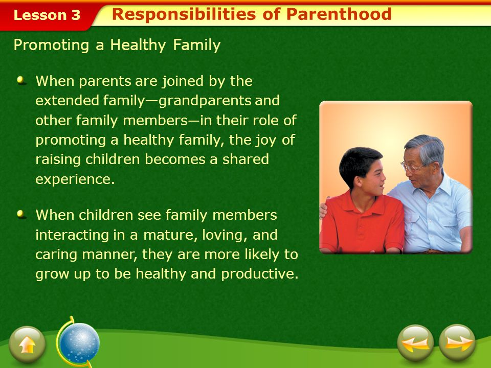 Lesson 3 Providing Guidance Parenting involves providing guidance and teaching children that each individual is responsible for his or her own success