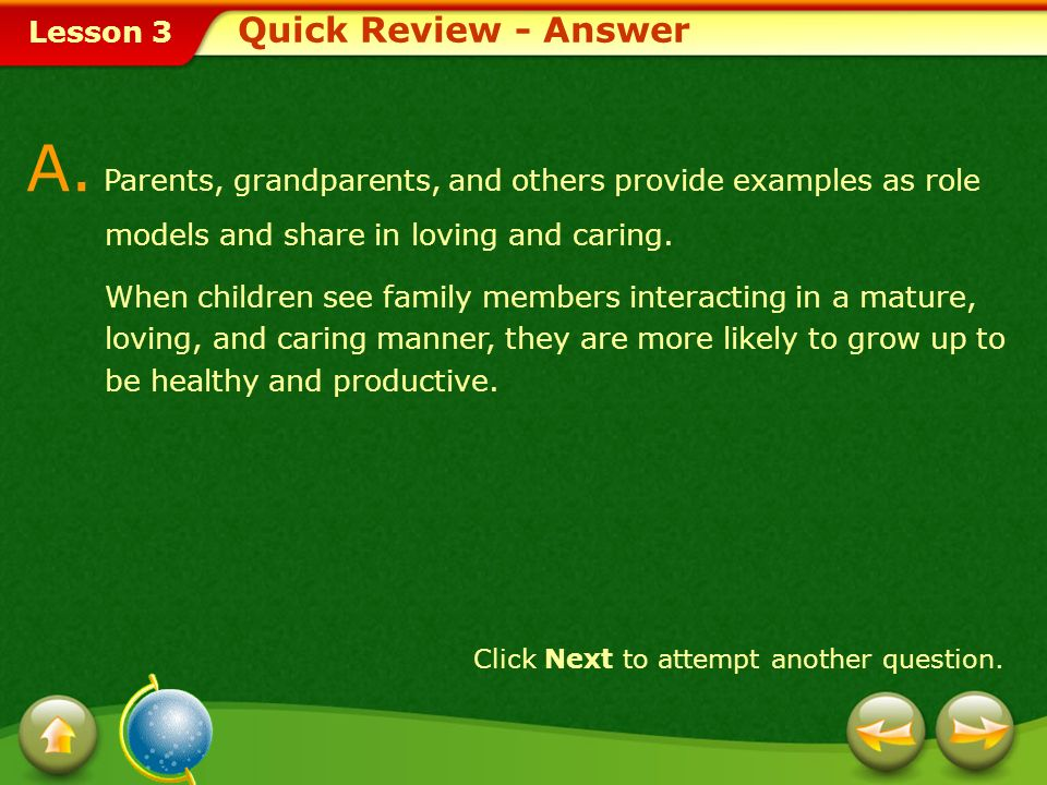 Lesson 3 Provide a short answer to the question given below. Q. Describe how parents, grandparents, and others contribute to a healthy family. Click N