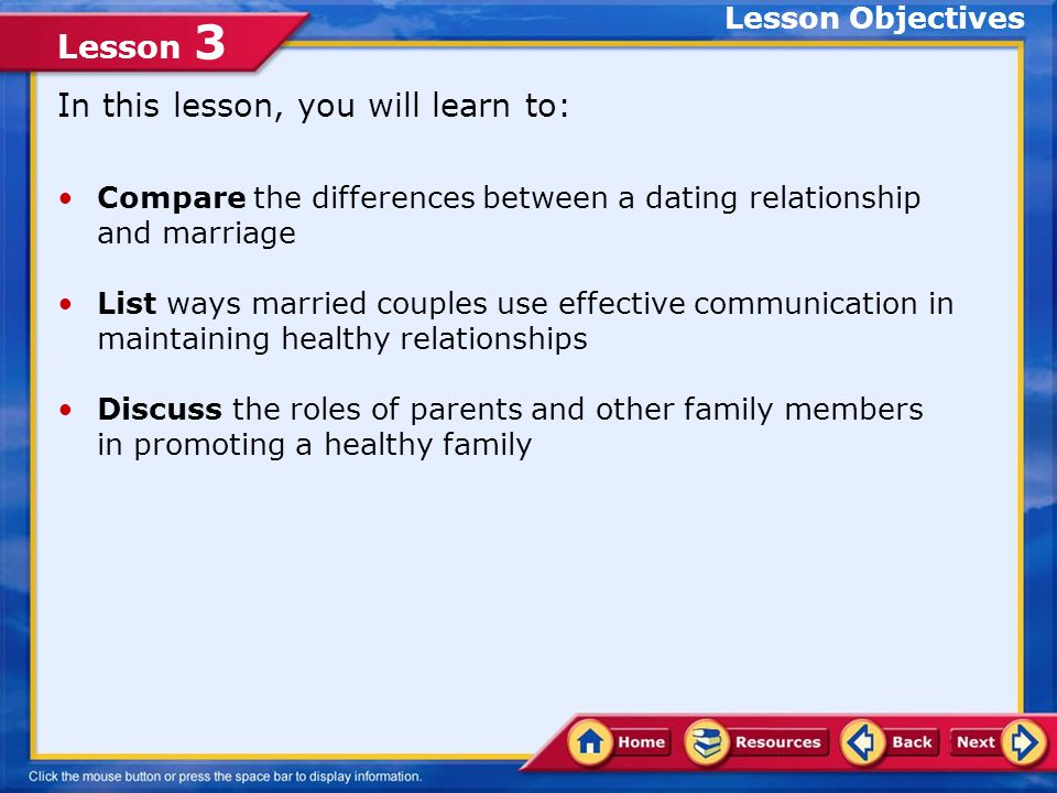 Lesson 3 Marriage and Parenting Couples in a marriage are able to share togetherness and give each other support in hard times as well as good times.